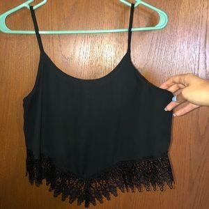 UO black lace cropped tank